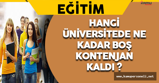 Hangi Üniversitede Ne Kadar Boş Kontenjan var ?