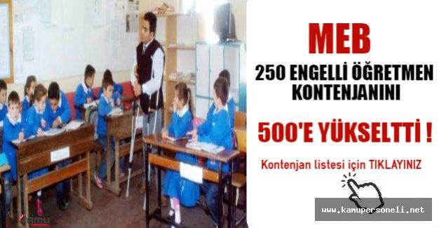 MEB, 250 Engelli Öğretmen Kontenjanını 500'e Yükseltti