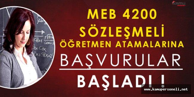 MEB 4200 Sözleşmeli Öğretmen Başvuruları Başladı