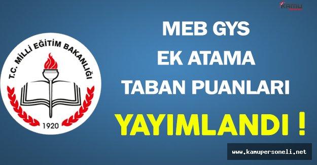 MEB GYS Ek Atama Taban Puanları Açıklandı !