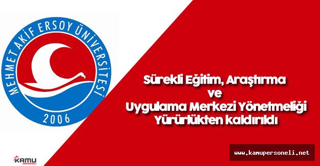 Mehmet Akif Ersoy Üniversitesi Sürekli Eğitim, Araştırma ve Uygulama Merkezi Yönetmeliği
