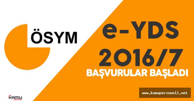 """ÖSYM Duyurdu : """" e-YDS 2016/7 Başvuruları Başladı"""""""
