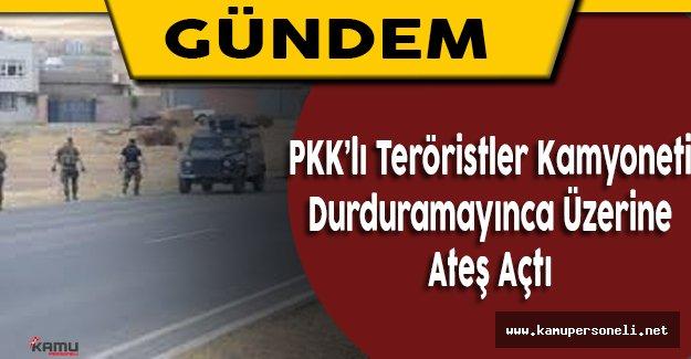 PKK'lı Teröristler Bingöl'de  Bir Kamyonete Ateş Açtı