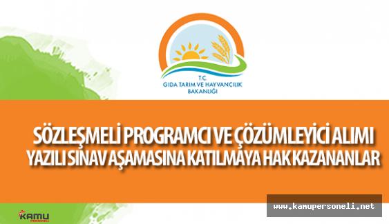 Tarım Bakanlığı Sözleşmeli Programcı ve Çözümleyici Alımı Yazılı Sınava Katılmaya Hak Kazananlar