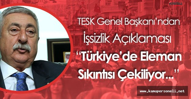 TESK Genel Başkanı Palandöken'den İşsizlik Açıklaması
