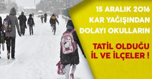 15 Aralık'ta Kar Nedeniyle Okulların Tatil Olduğu İl ve İlçeler
