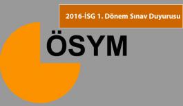 2016-İSG 1. Dönem Örnek Soru ve Sınav Kitapçığı