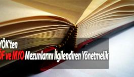 YÖK'ten AÖF ve MYO Mezunlarını İlgilendiren Yönetmelik