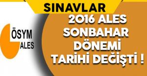 2016 ALES (Sonbahar Dönemi) Sınav Tarihi Değişti !