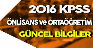 2016 KPSS Önlisans ve Ortaöğretim Güncel Bilgiler