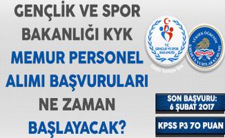 Gençlik ve Spor Bakanlığı KYK Memur Personel Alımı Başvuruları Ne Zaman Başlayacak?