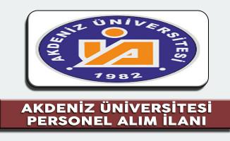 Akdeniz Üniversitesi Akademik Personel Alım İlanı