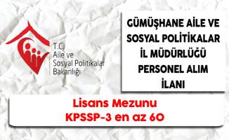 Gümüşhane Aile ve Sosyal Politikalar İl Müdürlüğü ASDEP Personeli Alıyor