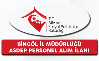 Aile ve Sosyal Politikalar Bakanlığı Bingöl İl Müdürlüğü ASDEP Alım İlanı