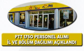 PTT 1750 Personel Alımına Ait Kadro Dağılımı, İller ve Bölümler Açıklandı