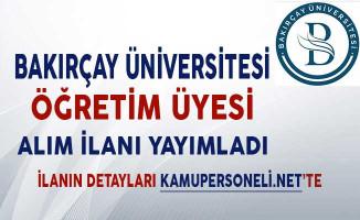 İzmir Bakırçay Üniversitesi Öğretim Üyesi Alım İlanı!