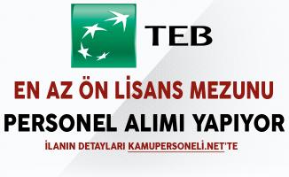 Türk Ekonomi Bankası (TEB) Aralık Ayı Personel Alım İlanı