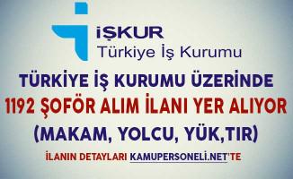 Türkiye İş Kurumu Üzerinde 1192 Şoför Alım İlanı Yer Alıyor (Makam, Otobüs, Yolcu, Yük Taşıma)