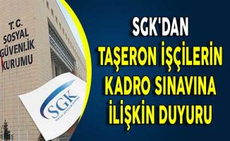 SGK'dan Taşeron İşçilerin Kadro Sınavına İlişkin Duyuru