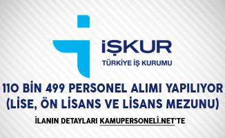 İŞKUR Aracılığıyla 110 Bin 499 Personel Alımı Yapılıyor (Lise, Ön Lisans ve Lisans Mezunu)