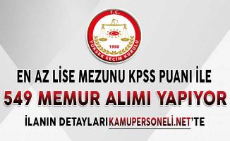 Yüksek Seçim Kurulu (YSK) KPSS Puanı İle En Az Lise Mezunu 549 Memur Alımı İçin Başvurular Başladı