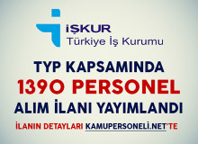 TYP Kapsamında 1390 Personel Alım İlanı Yayımlandı