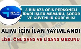 3 Bin 878 Ofis Personeli, İdari İşler Memuru, Şoför ve Güvenlik Alım İlanı Yayımlandı