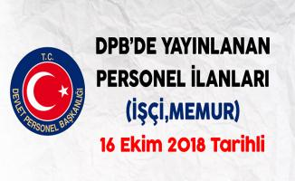 16 Ekim 2018 Tarihli DPB'de Yayınlanan Personel Alım İlanları
