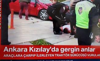 Ankara'da Dehşet Saçan Traktör Sürücüsü Vurularak Durduruldu!