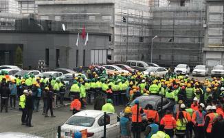 Başakşehir Şehir Hastanesi inşaatında çalışan işçiler eyleme başladı