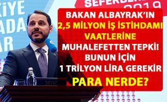 Berat Albayrak'ın '2019'da 2.5 milyon istihdam' vaatlerine muhalefetten tepki