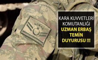 Kara Kuvvetleri Komutanlığı 2019 Yılı Uzman Erbaş Temin Duyurusu MSB'den Yayımlandı!