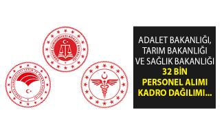 Adalet Bakanlığı, Tarım Bakanlığı ve Sağlık Bakanlığına 32 Bin Personel Alımı Kadro Dağılımı- Kamuya 32 Bin Personel Alımı