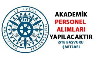 Bandırma Onyedi Eylül Üniversitesi öğretim üyesi personel alımı başvuru ilanı yayımladı!