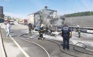 Gaziantep'te iplik yüklü tır yandı!