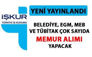 İŞKUR memur alımı iş ilanı yayımladı! Belediye, EGM, MEB ve TÜBİTAK çok sayıda personel alımı yapacak!