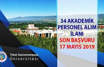 34 Akademik personel alımı! Tokat Gaziosmanpaşa Üniversitesi öğretim üyesi alım ilanı