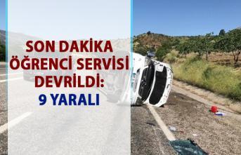 Adıyaman Besni karayolunda trafik kazası! Öğrenci servisi devrildi: 9 yaralı