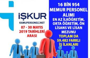 İŞKUR Memur personel alım ilanları! 16.954 daimi işçi personel alımı iş ilanları