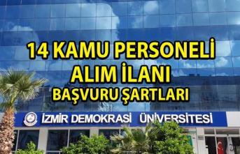 İzmir Demokrasi Üniversitesi Kamu Personeli Alım İlanı! 14 Akademik Personel alımı yapılacaktır