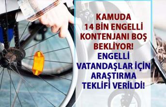 Kamuda engelli kontenjan sayısı! Engelli vatandaşlarımızın sıkıntılarının araştırılmasına yönelik teklif verildi!