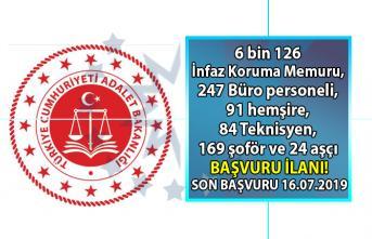 Adalet Bakanlığı 6 bin 126 İnfaz Koruma Memuru, 247 Büro personeli, 91 hemşire, 84 Teknisyen, 169 şoför ve 24 aşçı personeli alımı başvuru ilanı!
