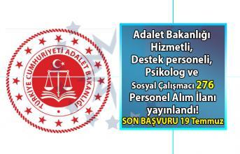 Adalet Bakanlığı Hizmetli, Destek personeli, Avukat, Psikolog ve Sosyal Çalışmacı Pozisyonlarında Çalıştırılmak Üzere Sözleşmeli 276 Personel Alımı yapıyor!