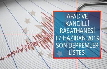 AFAD Ve Kandilli Rasathanesi 17 Haziran 2019 Son Depremler Listesi