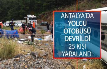 Antalya Akseki'de Yolcu Otobüsü Devrildi! 25 Kişi Yaralandı