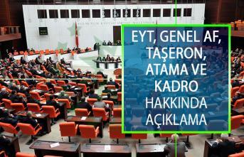 Emeklilikte Yaşa Takılanlar (EYT), Genel Af, Taşeron, Atama ve Kadro Hakkında Yeni Açıklama!