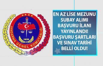 Jandarma Genel Komutanlığı en az lise mezunu muvazzaf subay alımı başvuru şartları ve sınav tarihi belli oldu!