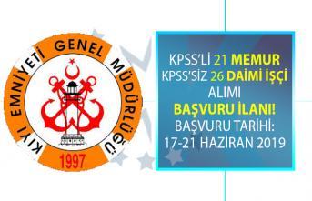 Kıyı Emniyet Müdürlüğü KPSS şartlı 21 Memur alımı ve KPSS şartsız 26 Daimi işçi alımı Yapıyor!