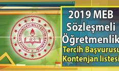 2019 Mart Sözleşmeli Öğretmen Atama Duyurusu Çerçevesinde Başvuranlar İçin Tercih İşlemleri ve kontenjan listesi