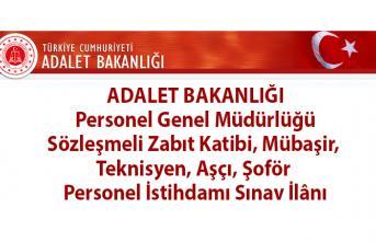 Adalet Bakanlığı 4 bin 424 Sözleşmeli Zabıt Katibi, Mübaşir, Teknisyen, Aşçı, Şoför Personel Alımı Sınav İlânı!